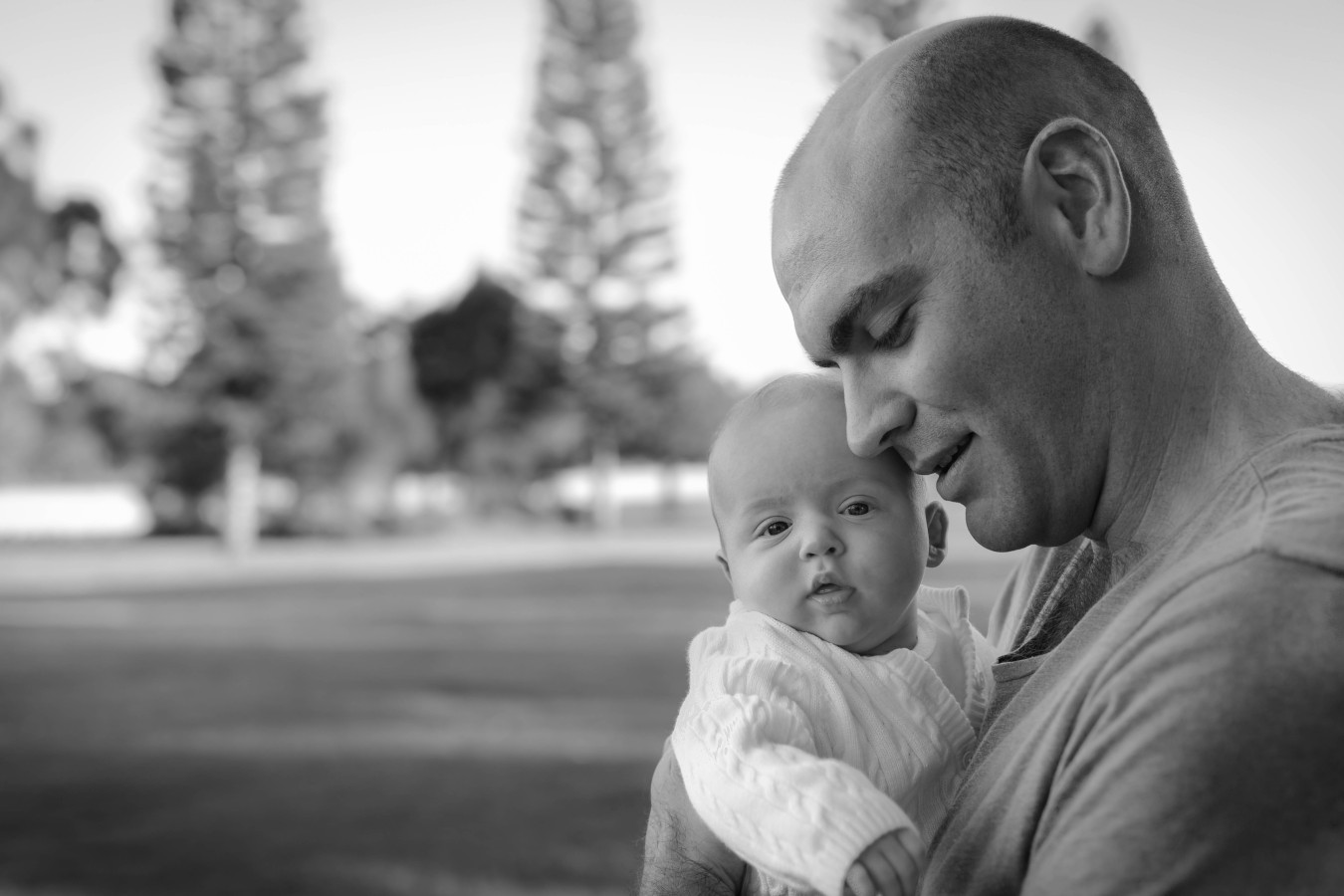 Father and Son Park B&W