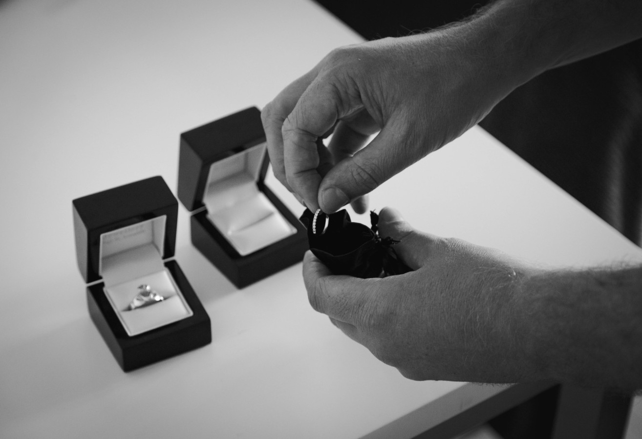Bride's ring into pouch
